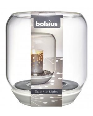 Γυάλινο Λευκό Κηροπήγιο για Sparkle Light Κεριά 130/121 Bolsius (103693590300)