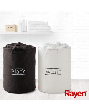 Καλάθια απλύτων ρούχων 2 τεμάχια άσπρο & μαύρο canvas χωρητικότητα 2X70Lt Rayen (2303.01)
