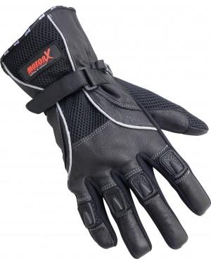Γάντια μοτοσυκλέτας καλοκαιρινά δερμάτινα μαύρα Motor X