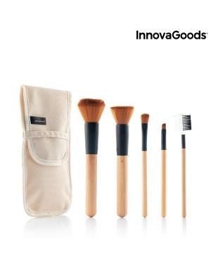 Πινέλα μακιγιάζ ξύλινα με θήκη μεταφοράς σετ 5 τμχ. Miset InnovaGoods (V0103202)