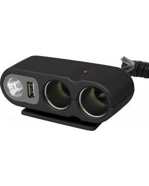 Φορτιστής αυτοκινήτου αντάπτορας αναπτήρα απο 12V σε δύο θύρες 12V και μια θύρα USB CARPOINT(0523434)