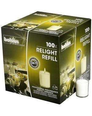 Relight Refills Κεριά Διαφανή 100 Τεμαχίων 24 Ωρών 64/52 BOLSIUS (103422395500)