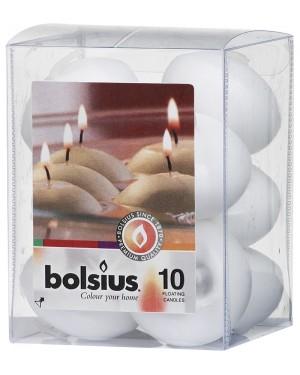 Επιπλέοντα Κεριά Συσκευασία 10 τεμαχίων Λευκά 4,5 Ωρών Bolsius(103632052202)
