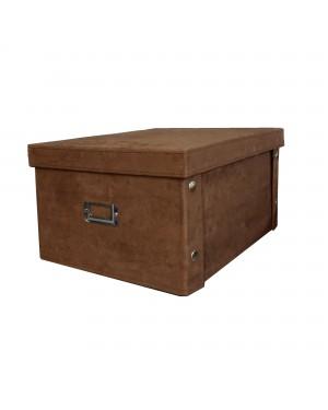 Κουτί αποθήκευσης ρούχων όψη σουέντ σκούρο καφέ 40X31X21cm (RAN4002)