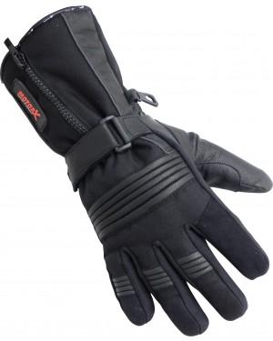 Γάντια μοτοσυκλέτας χειμωνιάτικα δερμάτινα μαύρα Motor X
