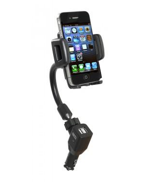 Βάση κινητού τηλεφώνου smartphone και μετατροπέας ρεύματος απο 12V σε 2 θύρες usb auto-t (540302)