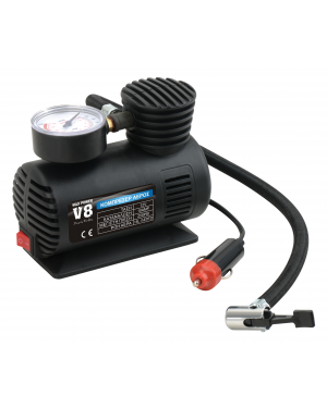 MINI AIR COMPRESSOR WITH FAN AND SWITCH V8 MAXPOWER 12V 250 PSI, 18 BAR (T10749)